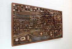 Arte de pared de madera paisaje urbano Chicago por CarpenterCraig
