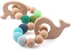 Amazon.com: Teethers Baby Organic Toys Wooden Teething Bracelet Elephant Whale Shaped Chewable Montessori Toy Shower Gift: Toys & Games