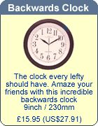 left handed backwards clock. really?! this is pushin it!