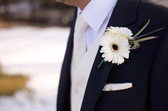 White mini gerbera buttonhole - Julie Cambridge Floral design