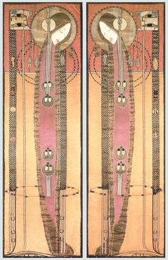 Scotland | Margaret MacDonald Mackintosh, pair of embroidered panels, 1902, Glasgow School of Art