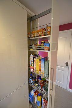 Note to self: pull out larder unit Kitchen Larder Cupboard, Kitchen Storage, Cream Gloss Kitchen, U Shaped Kitchen, Kitchen Layout, Kitchen Ideas, Kitchen Installation, Interior Design Kitchen, Cool Kitchens