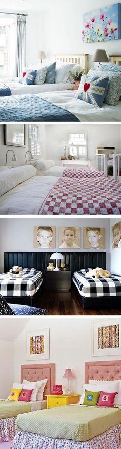 Pillows.  Beadboard Headboard Wall.  Boys & Girls Bedroom Ideas