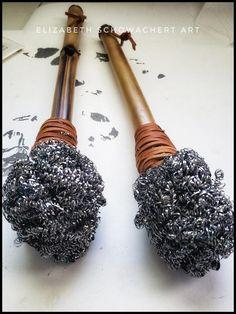 Handmade Metal Head Brushes With Hardwood or Bamboo Handles – Elizabeth Schowachert Art Textiles Techniques, Art Techniques, Painting Tips, Fabric Painting, Paint Brush Art, Paint Brushes, Ceramic Tools, Cottage Art, Guache