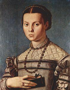 Agnolo Bronzino - Renaissance Portraits of Women - Portrait of a Young Girl, 1541 Mode Renaissance, Costume Renaissance, Renaissance Kunst, Renaissance Portraits, Renaissance Paintings, Renaissance Fashion, Italian Renaissance, Renaissance Clothing, Classic Paintings