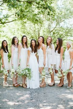 An all-white bridal party look: http://www.stylemepretty.com/2015/07/06/all-chic-all-white-bridal-party-inspiration/