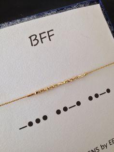 Set of 2 Gold BFF Morse Code Bracelets BFF by ErinElizabethCarson