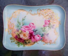 """Gorgeous Limoges France 1900's Hand Painted """"Red, Pink,  Yellow Roses"""" Tray by the Artist, """"JMB"""""""