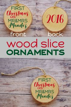 First Christmas As Mr Mrs Rustic Wood Slice Personalized Ornament Personalized