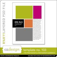 Cathy Zielske's Layered Template No. 103 - Digital Scrapbooking Templates - Cathy Zielske