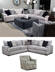Add a pop of style and let your personality show by adding the correlating swivel accent chair with its smooth swiveling that allows you to observe the whole room. The Florence Cement Sectional is a great choice if you are looking for a transitional style sectional to upgrade your living room or den area. Purchase online or in-store at Great American Home Store in Memphis, TN, and Southaven, MS. #livingroom #livingroomfurniture #sectional #familyroom #accantchair #swivelchair #sectionalsofa