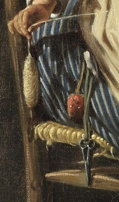 "1783. Detail of ""A kitchen maid"" by Hugues Taraval. Scissors and pincushion hang from her waist."