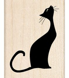 Inkadinkado Musical Cat Wood Stamp: Cool cat singing her song in silhouette on this wood stamp. Create interest on cards, scrapbook pages and more. Coordinates with other stamps. Musical Cats, Mundo Hippie, Image Chat, Black Cat Art, Photo Chat, Cat Quilt, Cat Silhouette, Wood Stamp, Cat Crafts