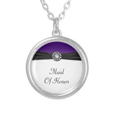 Shop Purple & White With Black Velvet & Diamond Wedding Silver Plated Necklace created by WeddingPerfectPlus. Wedding Necklaces, Black Felt, Silver Plate, Velvet, Pendants, Pendant Necklace, Chain, Diamond, Purple