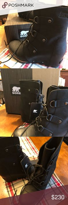 Brand new! Sorel wedge boots size 10 Brand new Joan of arctic sorel all weather boots. Comes with box. Paid $250. My loss your gain! Super cute and comfy. Black boot perfect with leggings. Size 10. Runs a little big but perfect with boot socks. Sorel Shoes Winter & Rain Boots