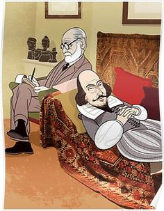 Cartoon caricature portrait of Sigmund Freud William Shakespeare, Shakespeare Portrait, Sigmund Freud, Anthropologie, Jewish Art, Humor Grafico, Canvas Prints, Art Prints, Fantastic Art