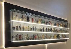 """Collecting Star Wars toys has been a thing in geek culture for as long as I can remember. The sudden demand for action figures that lead to the toy company Kenner selling """"Early Bird … Glass Display Case, Toy Display, Display Shelves, Glass Shelves, Display Cabinets, Display Cases, Action Figure Display Case, Star Wars Zimmer, Hot Wheels Display"""