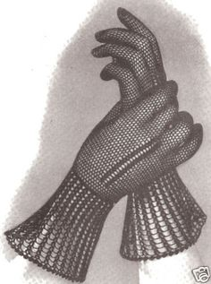 Vintage Fishnet Mesh Evening Gloves Crochet PATTERN #VintageHomeArts