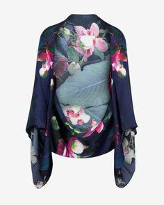 Fuchsia Floral silk cape scarf - Dark Blue | Scarves | Ted Baker