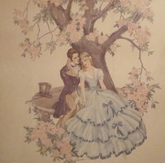 Vintage 1950s Victorian Romance Art Print . by kitschbitchvintage
