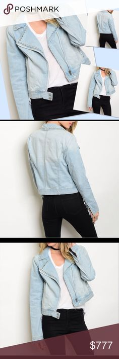 COMING SOON Light Denim Jacket This lovely denim jacket features a wide notched collar with studded trim. Light faded wash with zip front closure and buttoned cuffs. MADE IN THE USA. Please check out my other items in my closet for a bundle discount. PRICE FIRM UNLESS BUNDLED. Jackets & Coats Jean Jackets