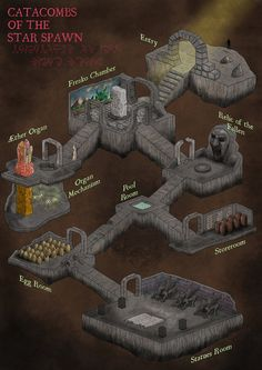Catacombs of the Star Spawn dungeon map Fantasy City, Fantasy Map, Medieval Fantasy, Dungeons And Dragons Classes, Dungeons And Dragons Homebrew, Rpg Pathfinder, Isometric Map, Rpg Map, Map Layout