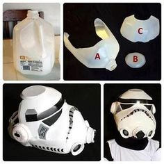 Star Wars mask out of a milk carton. Just too cool not to pin (the idea not the Star Wars) Masque Star Wars, Star Wars Masks, Star Wars Birthday, Star Wars Party, Manualidades Star Wars, Star Wars Stormtrooper, Costume Star Wars, Best Makeup Remover, Star Wars Crafts