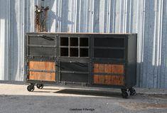 Liquor Cabinet/ Bar. Vintage/Modern Industrial. Reclaimed wood top & Steel. Urban loft design. (Media console/credenza, cart, buffet, style