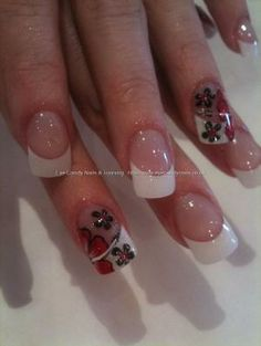 Black and red flower nail art by adrian