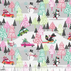Cars Snowmen Foxes Grey Christmas - Cotton