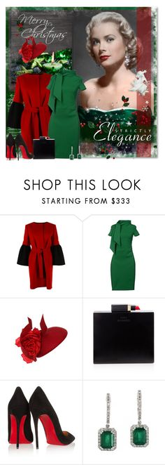 """""""Graceful and Elegant Holidays"""" by petri5 ❤ liked on Polyvore featuring Albino, Dsquared2, Philip Treacy, Lulu Guinness, Christian Louboutin, Effy Jewelry and vintage"""