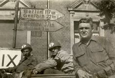 MPs on patrol- highway marker gives their location. Ww2, Berlin, Germany, America, Division, Marker, Weapons, Weapons Guns, Guns