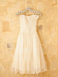 Vintage Cream Princess Dress. Beautiful strapless gown with gauzy white overlay.