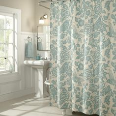 I pinned this Birds of a Feather Shower Curtain from the Powder Room Refresh event at Joss and Main!
