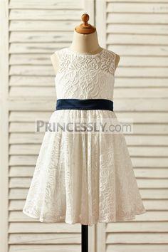 Princessly.com-K1000143-Sheer Neck Ivory Lace Flower Girl Dress with keyhole back/navy blue bow-31