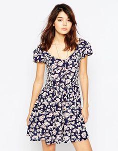Brave Soul Short Sleeve Floral Tea Dress