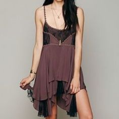Free People Pieced Lace Slip Tunic Dress ❣Brand: Free People  ❣Size: Small ❣Color: Purple Mulberry Combo  Beautifully detailed flowy lace slip. Flowers on the straps and top and black lace. Absolutely no flaws! Less on Merc w/free shipping Free People Dresses Mini