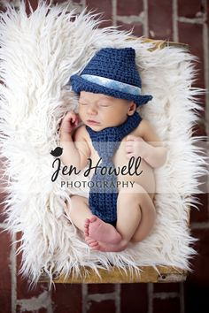 Newborn Baby Pictures @Laura Jayson Welborn super cute hat and tie...not sure if it's your style, but still cute :)