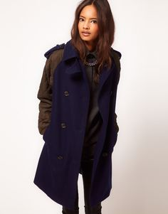 "ASOS Quilted Contrast Sleeve Coat -- I actually like this coat in a weird but hmm ""with a smile"" way. <3"