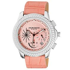 @Overstock - Genuine diamonds decorate the dial of this luxury chronograph timepieceAkribos XXIV ladies casual watch features stunning rope style bezelWith such elegant style, women's watch is an ideal accessory for your classy lifestylehttp://www.overstock.com/Jewelry-Watches/Akribos-XXIV-Mykonos-Womens-Chronograph-Quartz-Strap-Watch/4037527/product.html?CID=214117 $89.99