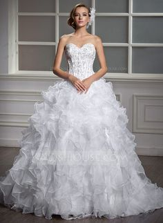 Ball-Gown Sweetheart Court Train Satin Organza Wedding Dress With Beading Sequins Cascading Ruffles (002004530) - JJsHouse
