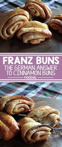 North German Franz Buns This German specialty takes your basic cinnamon bun up a notch or two. The pressed areas allows the filling to caramelize and become crispy. Get the recipe now on Foodal! German Breakfast, German Baking, German Bread, German Desserts, Mini Desserts, Plated Desserts, Breakfast Recipes, Dessert Recipes, Yummy Recipes