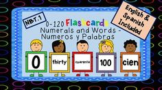 These English and Spanish number flashcards are incredibly useful in so many ways. This packet includes all numbers from 0-120 in numeral form and in word form (English and Spanish). It also includes a list of activity suggestions and math center game suggestions (and how to play).