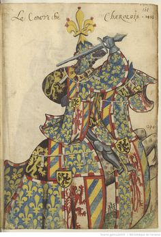 Charles le téméraire Armorial de l'Europe et de la Toison d'or Arsenal, The Duke Of Burgundy, Royal Monarchy, Medieval Paintings, Medieval Knight, Illuminated Manuscript, Coat Of Arms, Europe, Renaissance