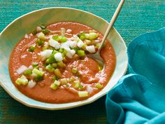 Gazpacho recipe from Anne Burrell via Food Network
