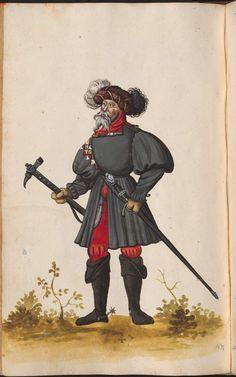 Black paltrock, puff sleeves, high neck.   pg 188    Hofkleiderbuch (Abbildung und Beschreibung der Hof-Livreen) des Herzogs Wilhelm IV. und Albrecht V. 1508-1551 - BSB Cgm 1951, München, 16. Jh. [BSB-Hss Cgm 1951]