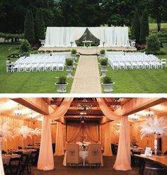 Classy, regal Tennessee wedding venue. View more from this stunning Knoxville wedding decor and venue at @castletonfarms! Rentals, decor, fabric, draping and design by All Occasions Party Rentals. Pics by Bob Franklin Photography | The Pink Bride® www.thepinkbride.com