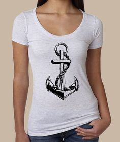 ANCHOR nautical ladies shirt Tri Blend Scoop Neck by LIttleAtoms, $20.00