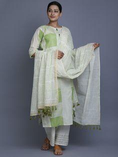 Off White Green Hand Block Printed Cotton Dupatta