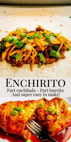 Enchiritos make a delicious Mexican dinner. Part enchilada and part burrito! Mexican Entrees, Mexican Dishes, Mexican Food Recipes, Beef Casserole Recipes, Burrito Recipes, Ground Beef Recipes For Dinner, Dinner Recipes, Enchirito Recipe, Super Easy Dinner